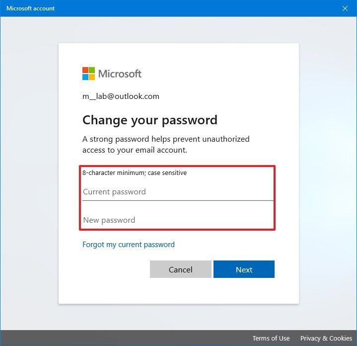 microsoft account change password-0