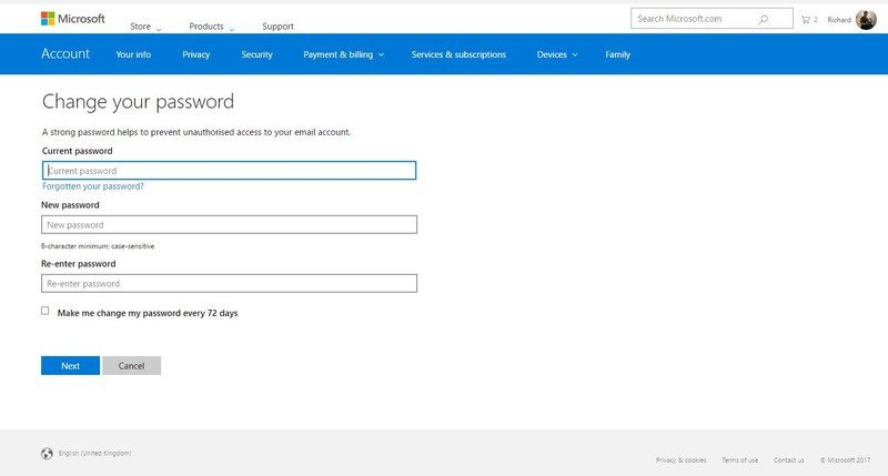 microsoft account change password-1