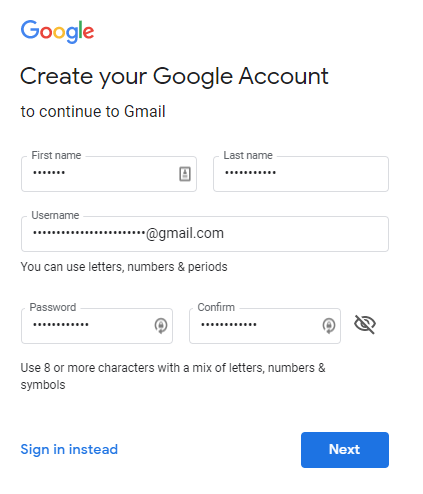 sign up google account-0
