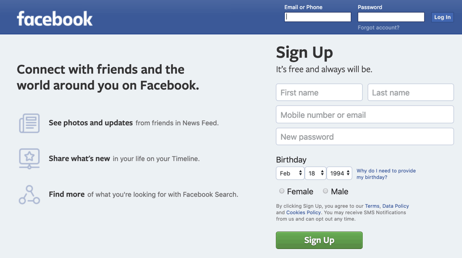 facebook sign up page-1