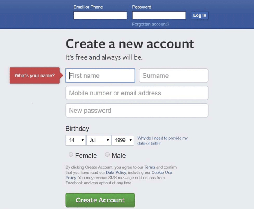 facebook sign up page-5